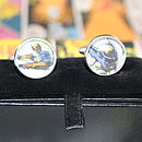 Personalised Silver Plated Superhero Round Cufflinks