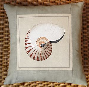 Hand painted Nautilus Shell Cushion - bedroom