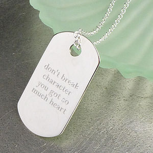 Personalised Silver Dog Tag Pendant - for young men