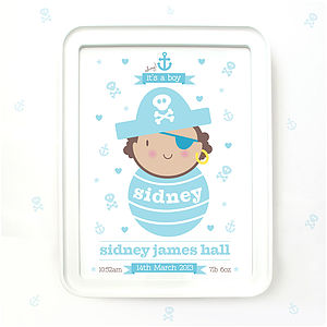Personalised New Baby Boy Print - children's room