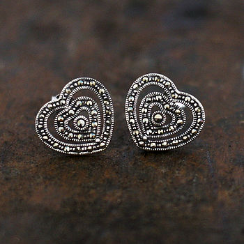 Sterling Silver Marcasite Heart Stud Earrings