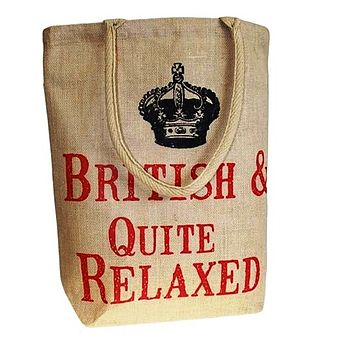 'British & Quite Relaxed' Jute Shopping Bag