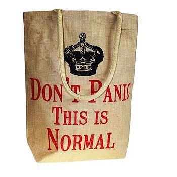'Don't Panic This Is Normal' Jute Bag