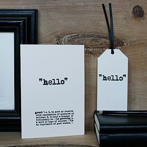 Hello Card - blank cards