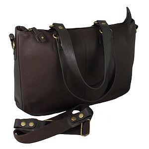 Ladies Leather Laptop Tote Bag With Shoulder Strap - tech accessories for her