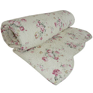 Rose Embroidered Quilted Bedspread - bed, bath & table linen