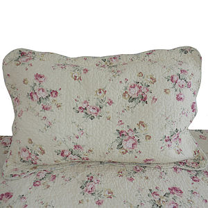 Rose Embroidered Quilted Pillowsham - bedroom