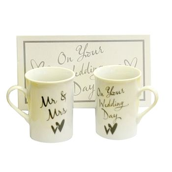 Pair Of 'Mr & Mrs' Wedding Day Mugs