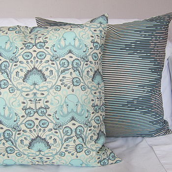 Octopus Cushion In Coral Or Blue Tones