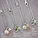 Details of outline star charms and colour options