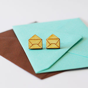 Wooden Envelope Stud Earrings - earrings
