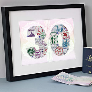 Personalised Passport Stamp Age Print