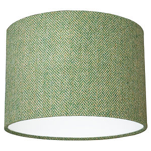Green Herringbone Harris Tweed Lampshade