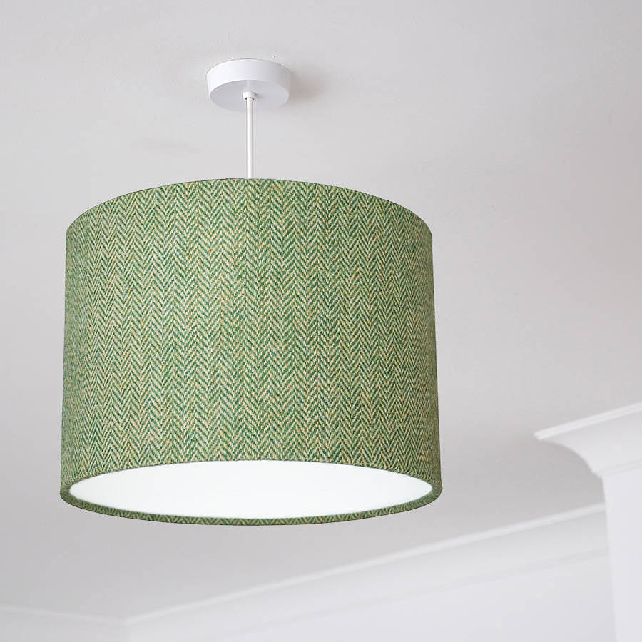 Green Ceiling Light Shades: Decoration Ideas Modern Bedroom Table Lamp Using White Drum,Lighting