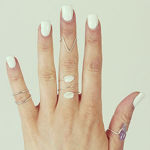 Demi Sterling Silver Sharp Chevron Ring - rings