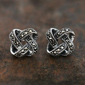 Sterling Silver Marcasite Knot Stud Earrings - earrings