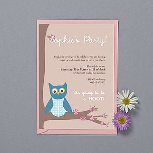 'Owl & Blossom' Party Invitations