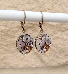 Vintage Watch Movement Earrings - earrings