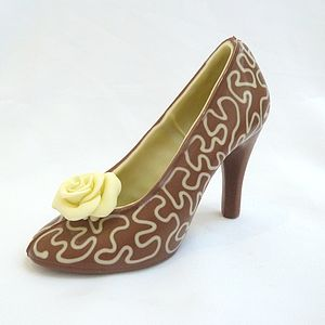 Large Chocolate Shoe White Lace - novelty chocolates