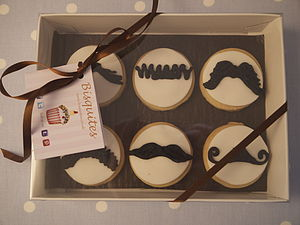 Box Of Six Moustache Biscuits - biscuits