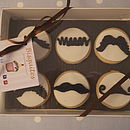 Box Of Six Moustache Biscuits