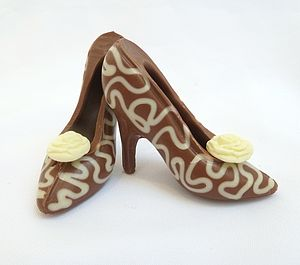 Small Chocolate Shoes White Lace - novelty chocolates