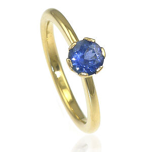 Handmade Blue Sapphire Engagement Ring - into the blue