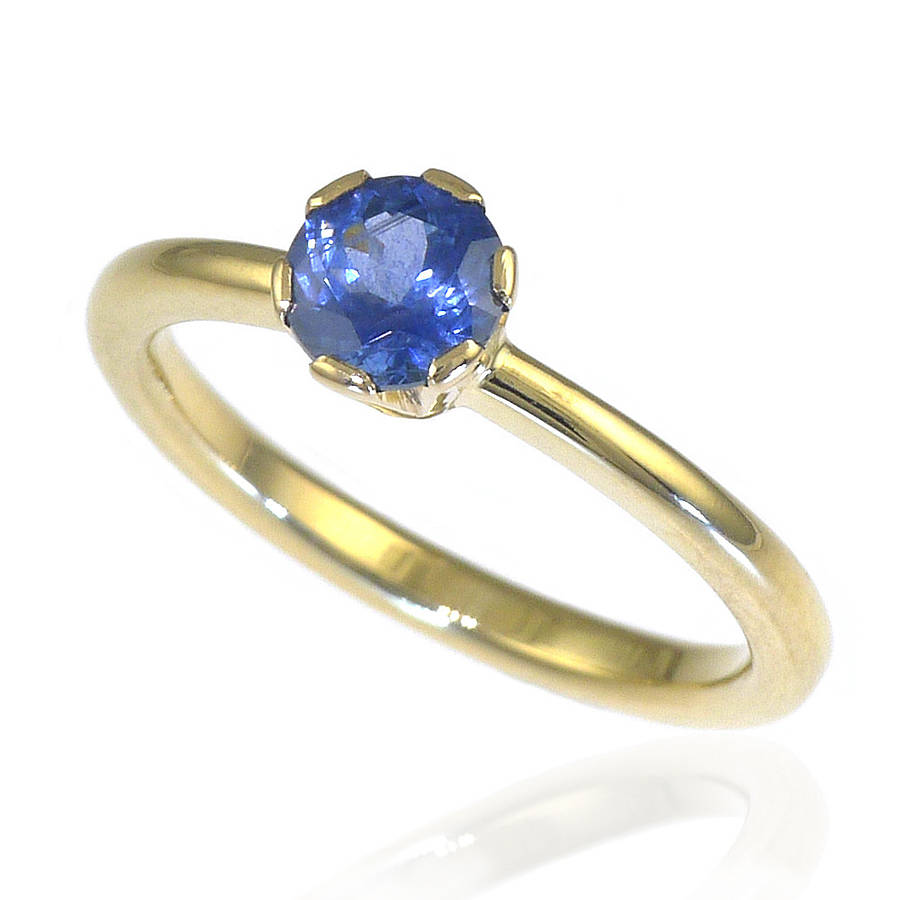 handmade blue sapphire engagement ring by lilia nash