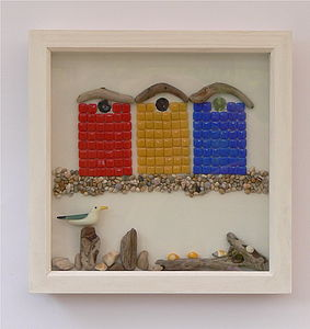 Framed Driftwood Roof Beach Huts Picture