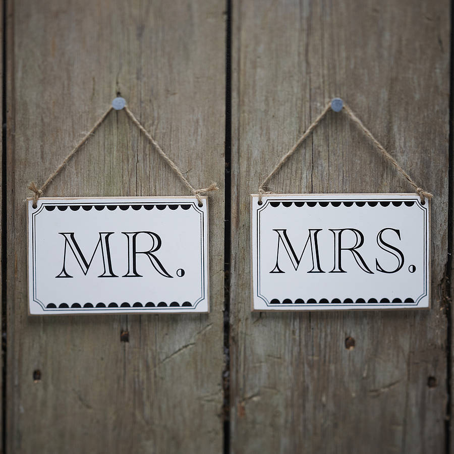 Vintage Style 'mr And Mrs' Wedding Signs By Ginger Ray