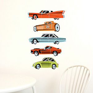 Vintage Cars Fabric Wall Stickers - bedroom