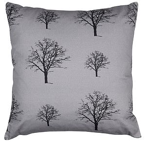 Snow Tree Grey Organic Cotton Cushion - cushions