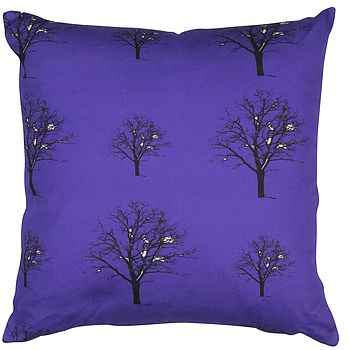 Snow Tree Purple Organic Cotton Cushion