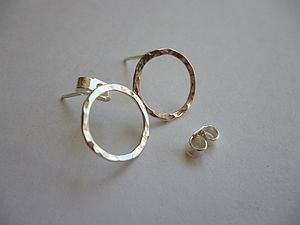 Handmade Beaten Silver Circle Earrings - earrings