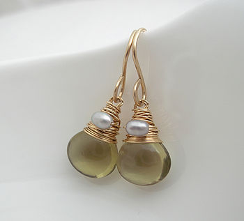 Olive Quartz Drop Earrings