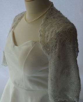 Hand Knitted Lace Panel Shrug