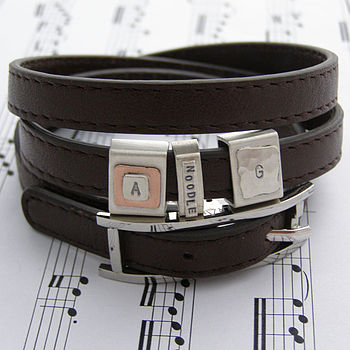 Men's Leather Bracelet With Personalised Tags