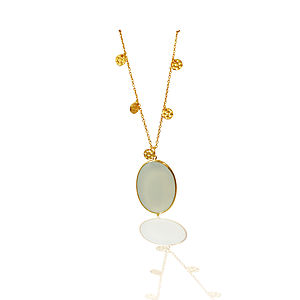 18ct Gold Aqua Chalcedony Pendant - necklaces & pendants