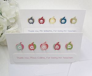Personalised 'Apples For The Teacher' Card - thank you gifts for teachers