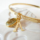 Locket Charm Hammered Gold Bangle