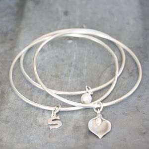Set Of Solid Silver Initial Lily Bangles - summer sale