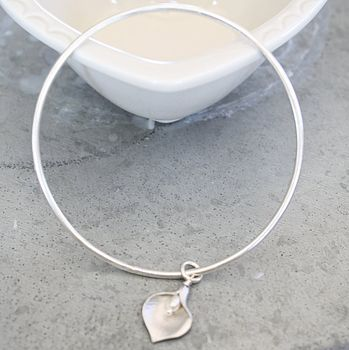 Sterling Silver Lily Bangle