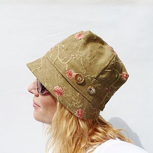 Embroidered Linen Cloche Hat - women's accessories