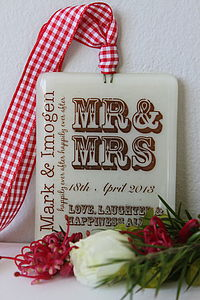 Personalised 'Mr And Mrs' Glass Keepsake - wedding gifts