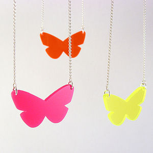Bright Butterfly Necklace - spring brights
