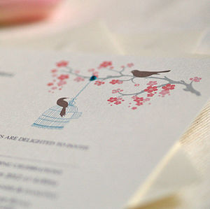 'Love Birds' Personalised Wedding Invitation - cobalt and coral