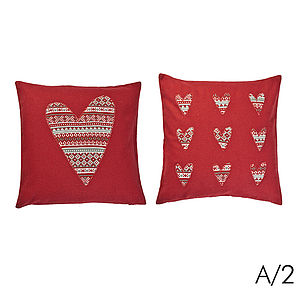 Two Knitted Heart Cushion Covers - cushions