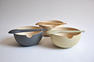 Bamboo Serving Bowl And Spoon Set - bowls