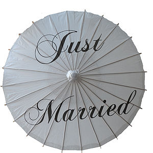'Just Married' Wedding Paper Parasol - outdoor decorations