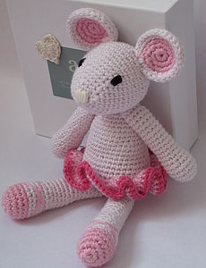 Hand Crochet Ballerina Mouse - cuddly toys
